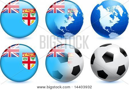 Fiji Flag Button with Global Soccer Event Original Illustration