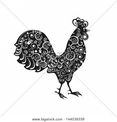 Vector illustration. 2017 new year symbol the rooster decorated with a delicate tendril pattern.