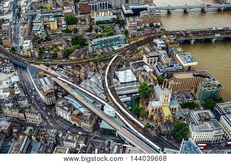 Aerial View Of River Thames In London (hdr)