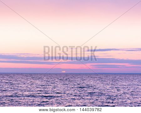 Sunset over Water Bright Horizon