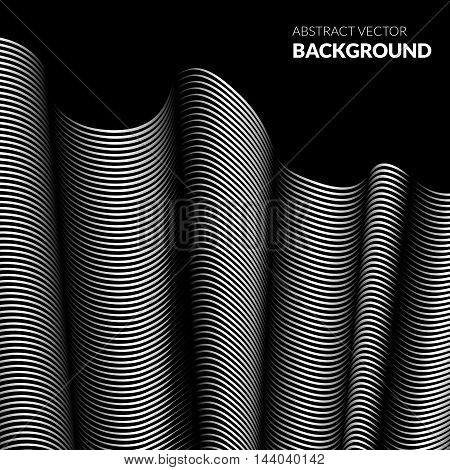 Vector illustration. Background of curved lines. The illusion of waves of folds of fabric. Backdrop for the creative design of posters banners flyers
