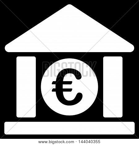 Euro Bank Building icon. Glyph style is flat iconic symbol, white color, black background.