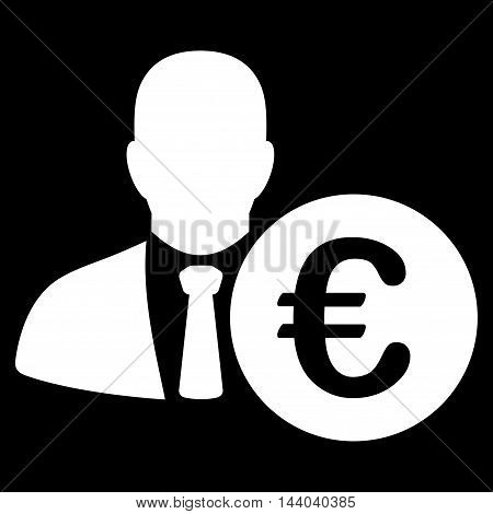 Euro Banker icon. Glyph style is flat iconic symbol, white color, black background.
