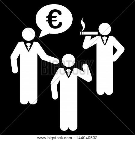 Euro Discuss People icon. Glyph style is flat iconic symbol, white color, black background.
