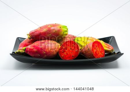 Fresh Mature Prickly Pears Isolated On White Background.