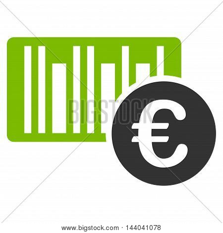 Euro Bar Code Price icon. Glyph style is bicolor flat iconic symbol, eco green and gray colors, white background.