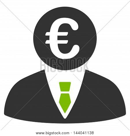Euro Clerk icon. Glyph style is bicolor flat iconic symbol, eco green and gray colors, white background.