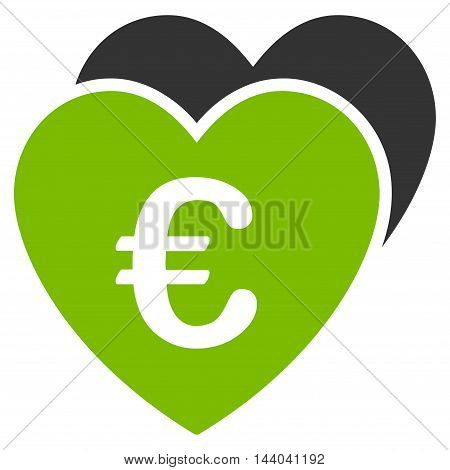 Euro Favorites Hearts icon. Glyph style is bicolor flat iconic symbol, eco green and gray colors, white background.