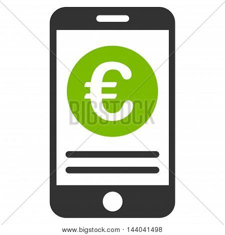 Euro Smartphone Banking icon. Glyph style is bicolor flat iconic symbol, eco green and gray colors, white background.