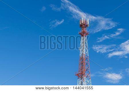 Antenna transmission tower in a day of clear blue sky and copy space for text