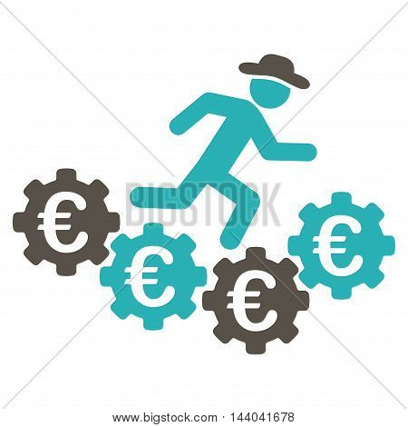 Euro Gears Runner icon. Glyph style is bicolor flat iconic symbol, grey and cyan colors, white background.