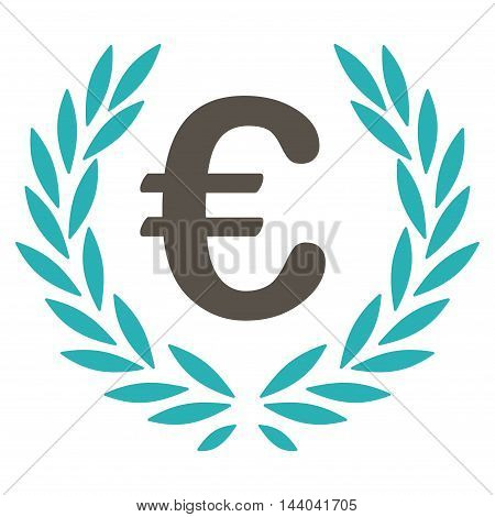 Euro Laurel Wreath icon. Glyph style is bicolor flat iconic symbol, grey and cyan colors, white background.