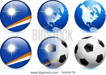 Marshall Islands Flag Button with Global Soccer Event Original Illustration