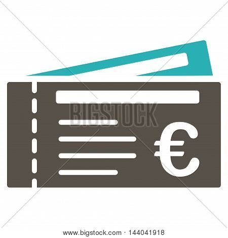 Euro Tickets icon. Glyph style is bicolor flat iconic symbol, grey and cyan colors, white background.