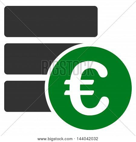 Euro Database icon. Glyph style is bicolor flat iconic symbol, green and gray colors, white background.