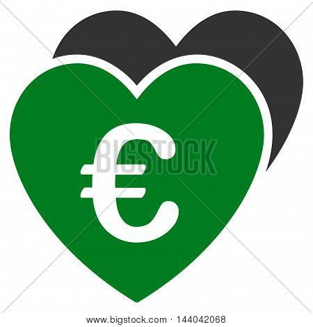 Euro Favorites Hearts icon. Glyph style is bicolor flat iconic symbol, green and gray colors, white background.
