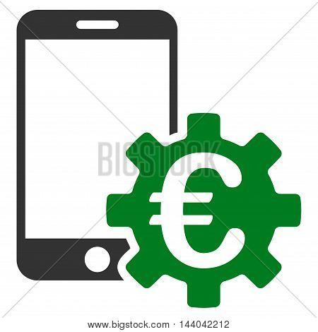 Euro Mobile Bank Configuration icon. Glyph style is bicolor flat iconic symbol, green and gray colors, white background.