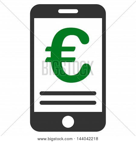 Euro Mobile Banking icon. Glyph style is bicolor flat iconic symbol, green and gray colors, white background.