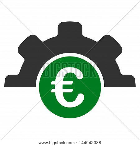 Euro Technology icon. Glyph style is bicolor flat iconic symbol, green and gray colors, white background.
