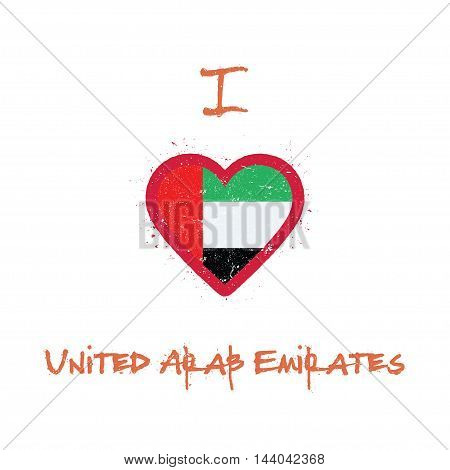 I Love United Arab Emirates T-shirt Design. Emirian Flag In The Shape Of Heart On White Background.