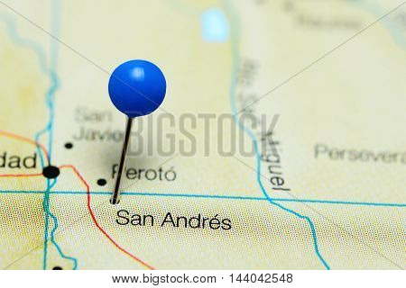 San Andres pinned on a map of Bolivia