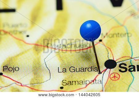 La Guardia pinned on a map of Bolivia