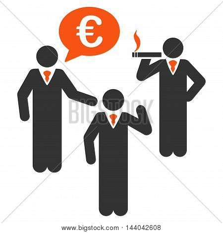 Euro Discuss People icon. Glyph style is bicolor flat iconic symbol, orange and gray colors, white background.
