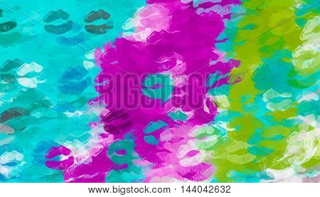 pink purple blue and green kisses lipstick abstract background