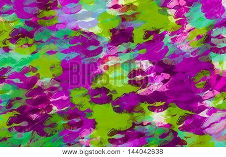 purple green and blue kisses lipstick abstract background