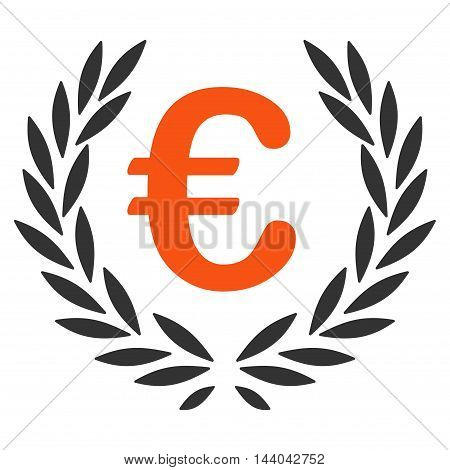 Euro Laurel Wreath icon. Glyph style is bicolor flat iconic symbol, orange and gray colors, white background.