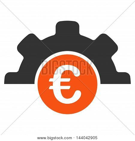 Euro Technology icon. Glyph style is bicolor flat iconic symbol, orange and gray colors, white background.