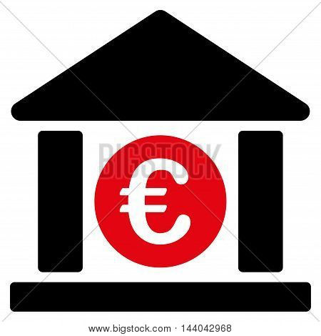 Euro Bank Building icon. Glyph style is bicolor flat iconic symbol, intensive red and black colors, white background.