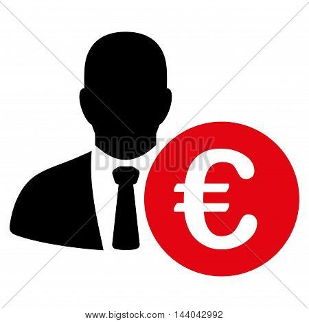 Euro Banker icon. Glyph style is bicolor flat iconic symbol, intensive red and black colors, white background.
