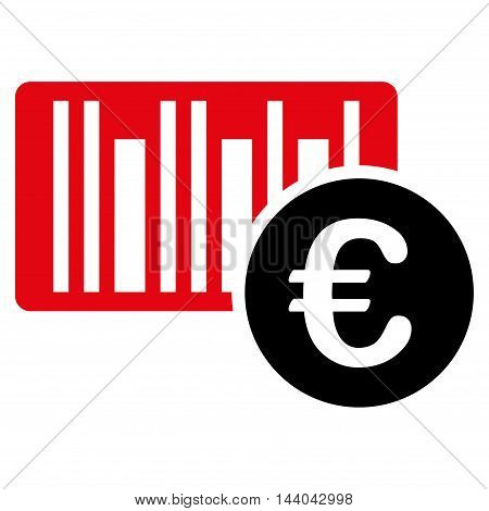 Euro Bar Code Price icon. Glyph style is bicolor flat iconic symbol, intensive red and black colors, white background.