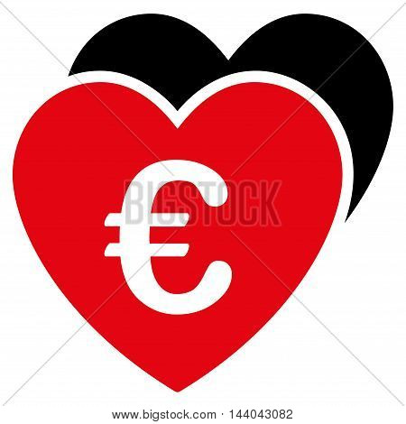 Euro Favorites Hearts icon. Glyph style is bicolor flat iconic symbol, intensive red and black colors, white background.