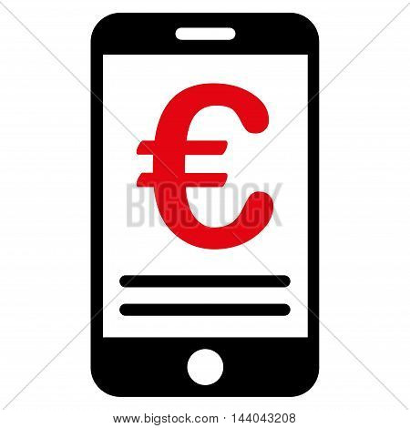 Euro Mobile Banking icon. Glyph style is bicolor flat iconic symbol, intensive red and black colors, white background.