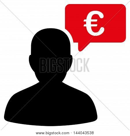 Euro User Opinion icon. Glyph style is bicolor flat iconic symbol, intensive red and black colors, white background.