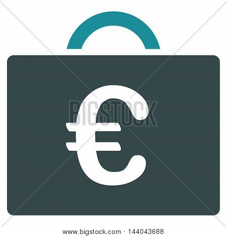 Euro Bookkeeping Case icon. Glyph style is bicolor flat iconic symbol, soft blue colors, white background.
