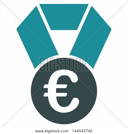 Euro Champion Medal icon. Glyph style is bicolor flat iconic symbol, soft blue colors, white background.