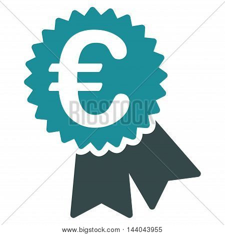 Euro Featured Price Tag icon. Glyph style is bicolor flat iconic symbol, soft blue colors, white background.