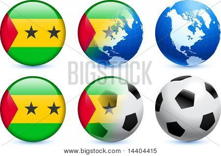 Sao Tome Flag Button with Global Soccer Event Original Illustration