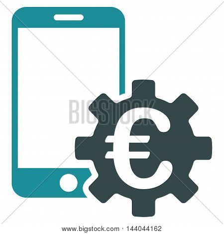 Euro Mobile Bank Configuration icon. Glyph style is bicolor flat iconic symbol, soft blue colors, white background.