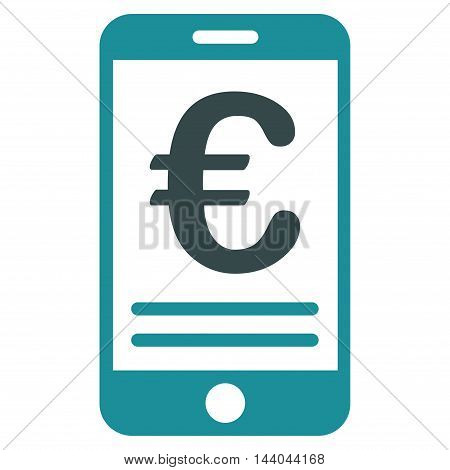 Euro Mobile Banking icon. Glyph style is bicolor flat iconic symbol, soft blue colors, white background.
