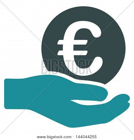 Euro Salary icon. Glyph style is bicolor flat iconic symbol, soft blue colors, white background.