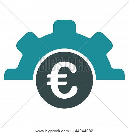 Euro Technology icon. Glyph style is bicolor flat iconic symbol, soft blue colors, white background.