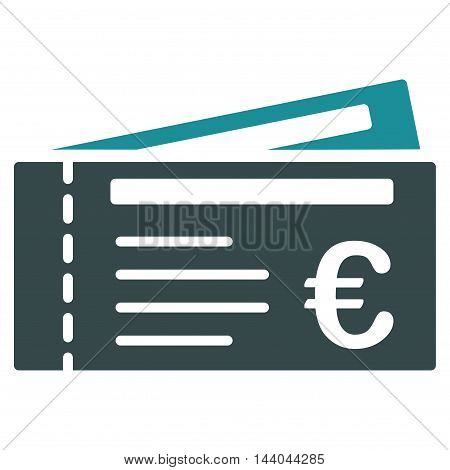 Euro Tickets icon. Glyph style is bicolor flat iconic symbol, soft blue colors, white background.