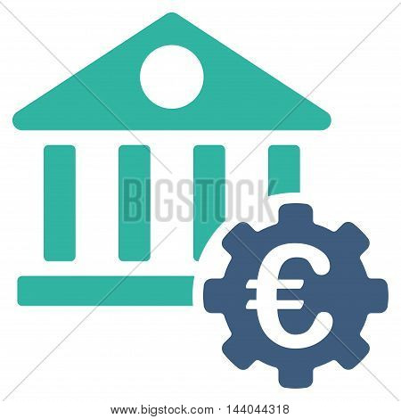 Euro Bank Building Options icon. Glyph style is bicolor flat iconic symbol, cobalt and cyan colors, white background.
