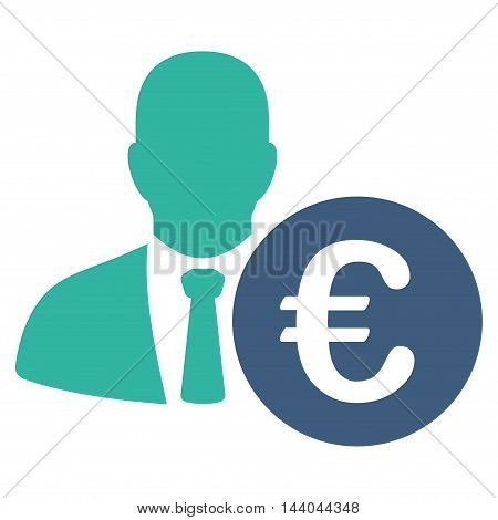 Euro Banker icon. Glyph style is bicolor flat iconic symbol, cobalt and cyan colors, white background.