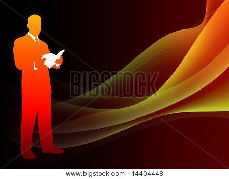 Businessman on Abstract Flowing Flame Background Original Illustration