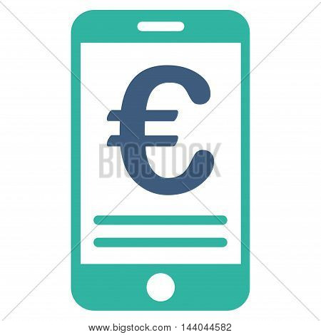 Euro Mobile Banking icon. Glyph style is bicolor flat iconic symbol, cobalt and cyan colors, white background.